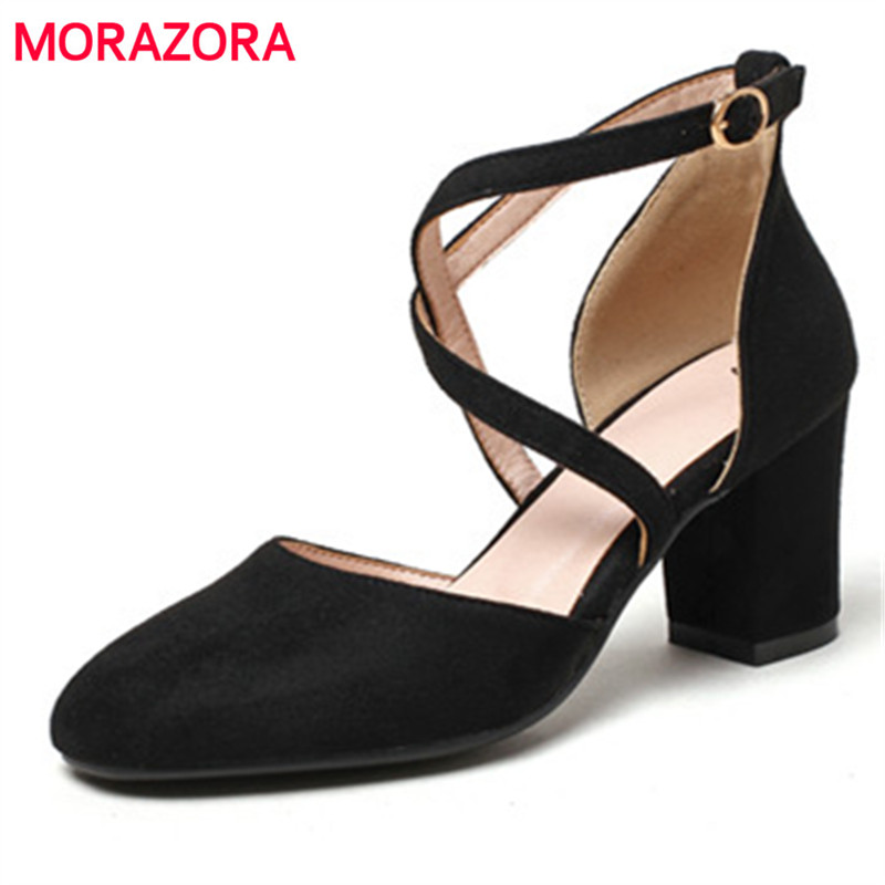 MORAZORA Square toe high heels shoes in summer women pumps wedding party shoes fashion elegant flock solid big size shoes 34-43<br>