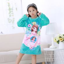 2017 Flannel children nightdress Cartoon Kids Sleepwear Princess Pajama girl Nightdress Baby nightgown Teenage garment clothes(China)