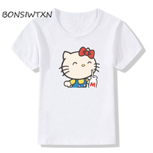 BONSIWTXN 2017 Hello Kitty T-shirt Modal Regular O-Neck Girls Short Sleeve T Shirts For Children Kids Tees T-shirt White(China)
