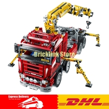 Lepin 20013 1877pcs Technic Ultimate Mechanical Series The Electric Crane Truck Set Building Blocks Bricks Funny Gifts Toys 8258