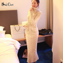 Korean Style Women Knitted Sweater Maxi Dress Casual Turtleneck Bodycon Pencil Dresses Warm Long Vestidos 2016 Ladies Winter red