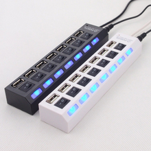 Quality USB 2.0 HUB 7 Port Hub Power Splitter Adapter with ON/OFF Switch Hub Can connect Card Reader Mouse U Flash Disk