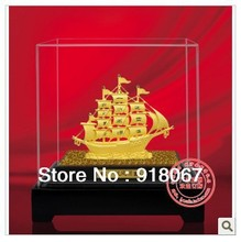 YZ-R1067 Free shipping gold craft/24K gold craft/art gift/ Indoor decoration boat sailing boat model piece set handmade boat(China)