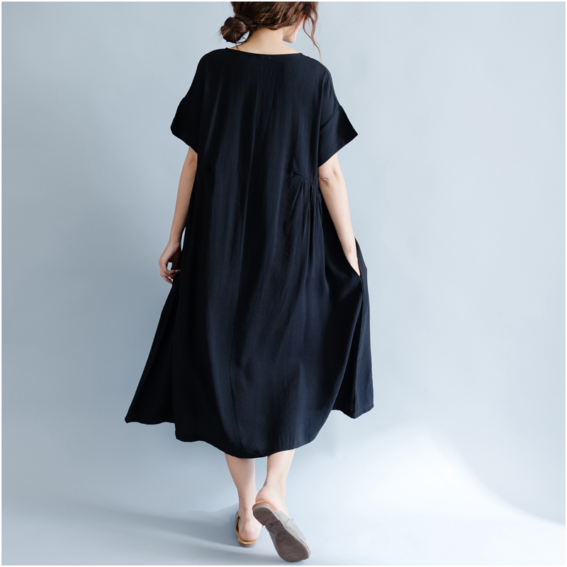 DIMANAF Women Summer Dress Big Size Cotton Linen Casual Soft Style Black Polka Dot Oversized Loose Female Sundress Clothing 2018 19