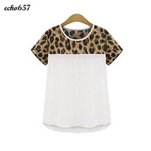 Hot Sale Women Shirt Echo657 New Fashion Women Leopard Printing Chiffon Casual Short Shirt Tops Blouse Dec 17 PY(China)