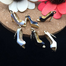 Trendy 6Pcs Rhinestone Decoration Fish Mouth High-heeled Shoes Diy Pendants Charms Oil Drop Metal Alloy Brcelet Floating Charm