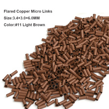 1000pcs 3.4*3.0*6.0mm Flared edge Euro Lock Flared Flaring Micro Copper Tube Rings Beads Links Human Hair Extensions tools