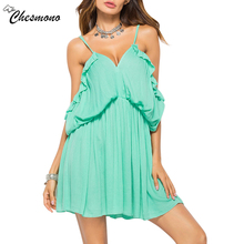 Buy Women's Sexy Shoulder Deep V-neck Party Dress Elastic Waist Ruffle Cold Shoulder solid Color Floral Print Beach Dress for $13.87 in AliExpress store