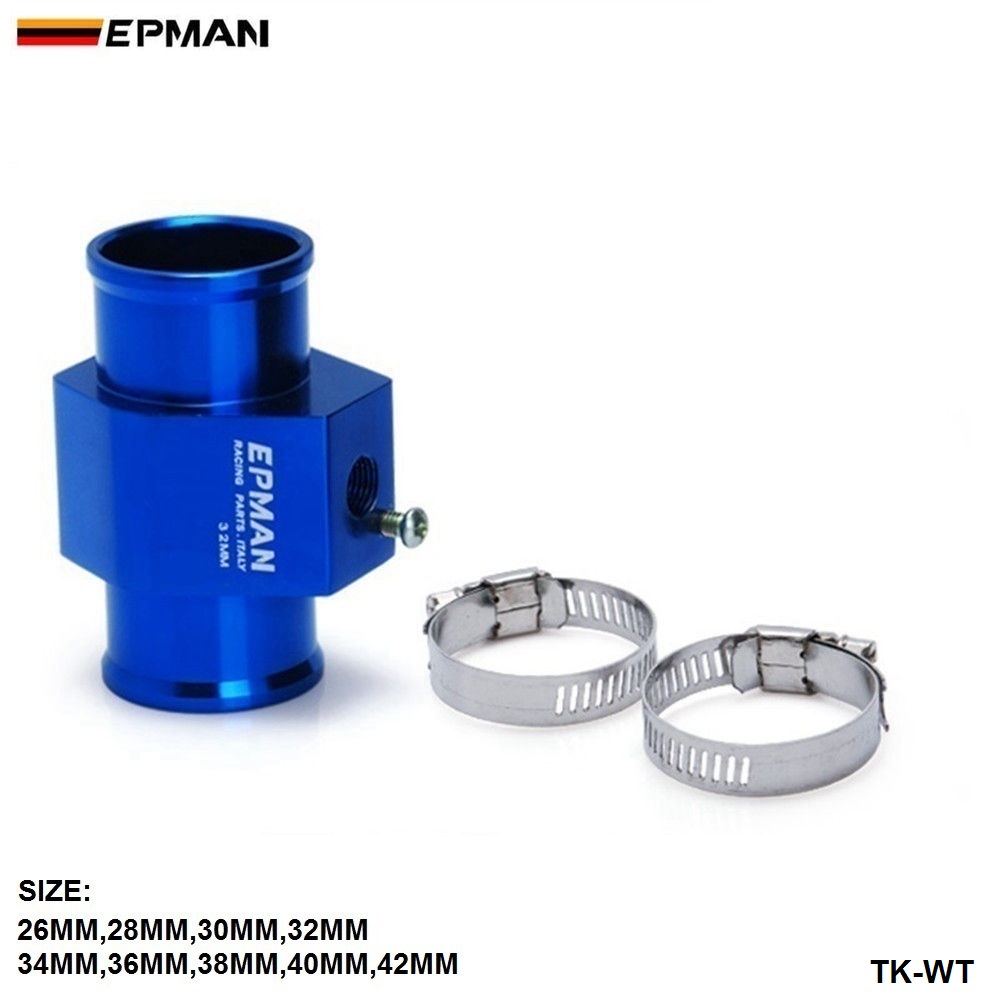 Includes Hose Clamps Water Coolant Temperature Sensor Adapter Aluminum Joint Pipe Radiator 28MM