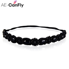 AE-CANFLY Vintage Black Queen Shiny Crystal Beads Elastic Headband Women Hair Accessorie 1H5004(China)