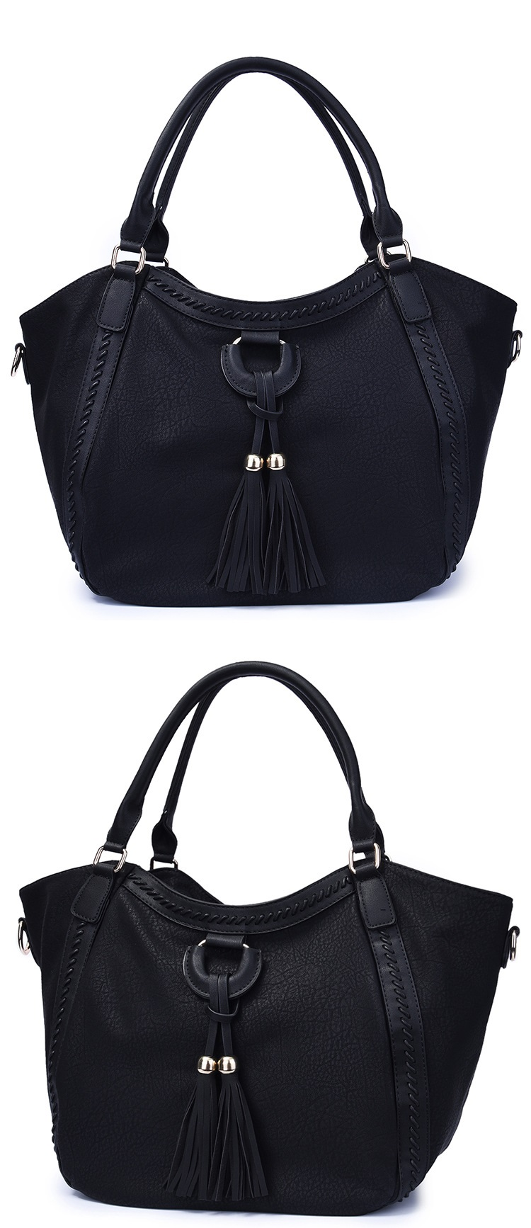 NIGEDU Leather Casual Tassel Handbag Large Famous Brands Designers Pu Leather Handbags Women Big Tote Bags Female Messenger Bags Bolsos Blue (3)