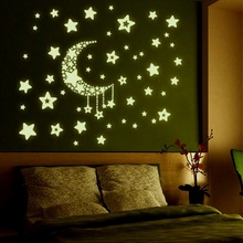 2017 New Style Moon/Stars Luminous FluorescentDecors For Home Fridage Party DIY Decoration Hot Sale