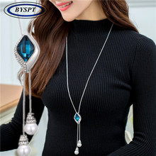 BYSPT Women Square Crystal Sweater Chain Long Paragraph With Jewelry Pendant Simple Decorative Necklace