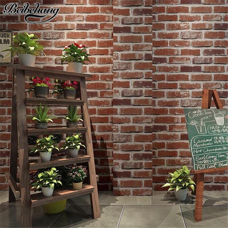 beibehang Retro Nostalgic 3D Stereo Facing Brick Wall paper Bar Cafe Hotel Living Room Red Brick Wallpaper Papel de Parede<br>