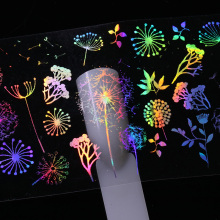 10 Pcs 4*20cm Holographic Nail Foil Rose Panda Butterfly Dandelion Fire Flower Pattern Nail Art Transfer Sticker(China)