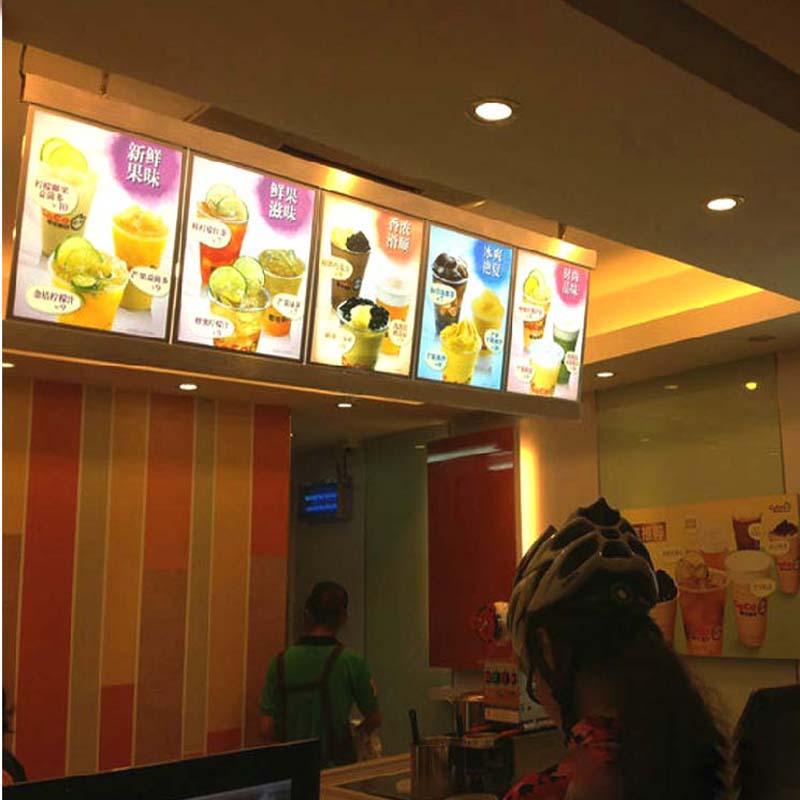 restaurant menu light panels