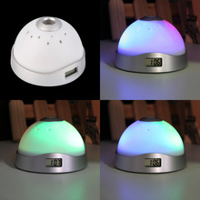 Home decoration Digital Magic LED lights Led Funny Alarm Clock Laser Projection Night Light Color Change Drop Shipping(China)