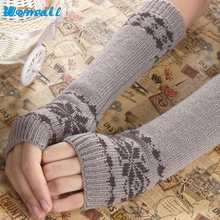 Amazing Winter Autumn Warm Snowflake Long Gloves Women Fingerless Knit Gloves Free Shipping