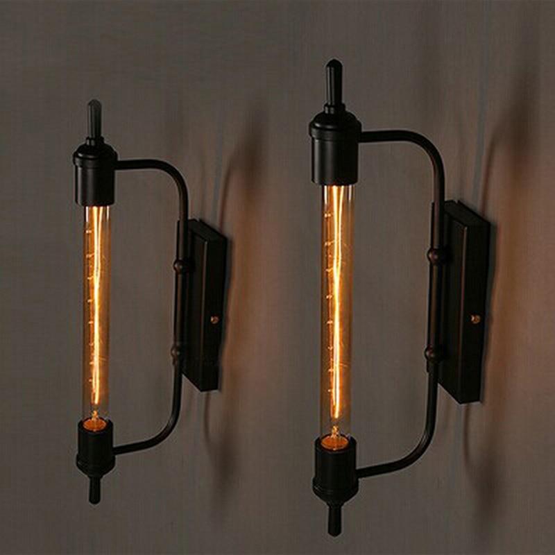 Retro Vintage steam pipe Style black slender Loft Industrial Hotel Cafe Bar Restaurant bedroom Iron Punk Wall Lamps Lighting<br>