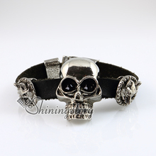 wolf skull fleur de lis snap wrap bracelets genuine leather cheap bracelets high fashion jewelry hand made fashion jewerly()