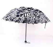 2017 New Zebra leopard Apollo Wave Side Arched Umbrella Korean Version of Foreign Trade Sunny  Folding Umbrella