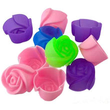 Random Color 5 PCS Rose Muffin Cookie Cup Cake Baking Chocolate Jelly Maker Mold Mould Maker