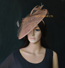 NEW 17 colours Brown pink big Sinamay fascinator hat.