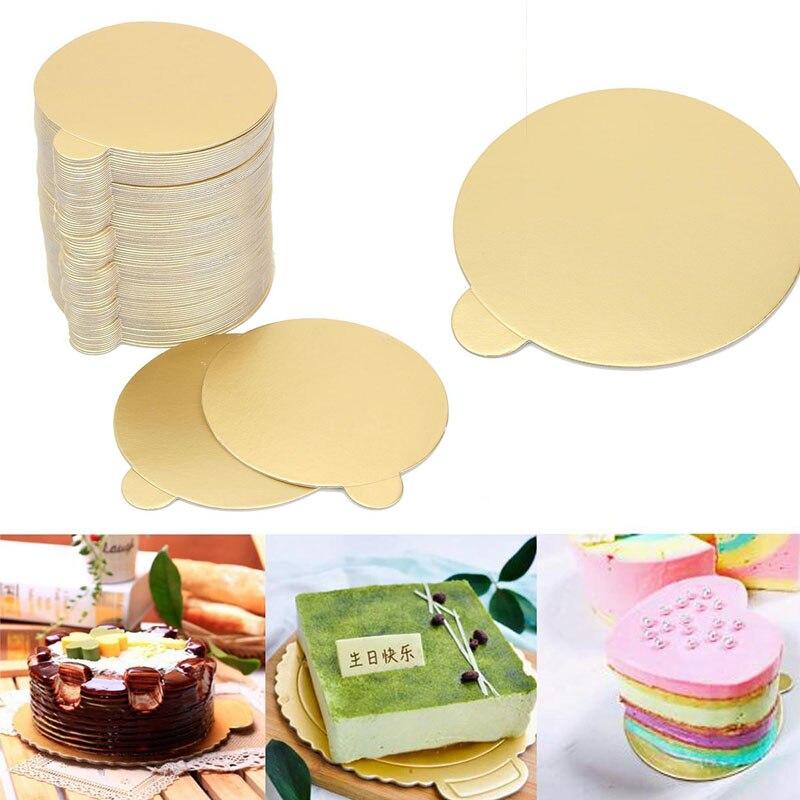 New 100Pcs/set Round Mousse Cake Boards Mayitr Cupcake Dessert Tray Gold Paper Displays Wedding Birthday Pastry Decor