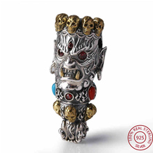 2017 Men Women Skull Pendant 100% Real 925 Sterling Silver Buddha God of Wealth Mosaic Color Stone Necklace Pendant jewelry FP1(China)