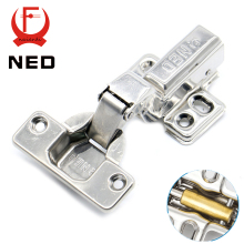10PCS NED All Size 304 Stainless Steel Hydraulic Hinge Copper Core Damper Buffer Cabinet Cupboard Door Hinges Furniture Hardware(China)