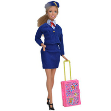 LeadingStar Play House Pink Plastic 3D Travel Train Suitcase Luggage For Barbie Doll