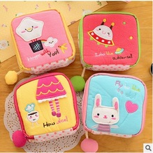 Cute Girl/Women Napkins Organizer Storage Hold Sanitary Napkin Bag Case Cartoon Easy Small Articles Zipper Catton Gather Pouch(China)