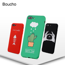 Buy Boucho Soft Silicone TPU Case iphone X 6 6s 7 8 plus Back Cover lovely Cartoon Universe Planet Cactus Patterned Phone Cases for $1.37 in AliExpress store