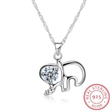 Fine Jewelry Necklaces & Pendants 925 Sterling Silver Mini Elephant Collar Women 18inch Ribbon Jewels Wedding Party Gift N0061