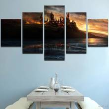 Hd Prints Modular Pictures Frame Game Canvas 5 Pieces Harry Potter Flame Castle Painting Movie Poster Wall Art Home Decor(China)