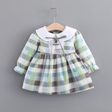 Autumn Long Sleeve Princess Plaided Bow Dress Infants Baby Girls Tutu Party Doll Collar Cotton Dress Kids Vestido S5662(China)