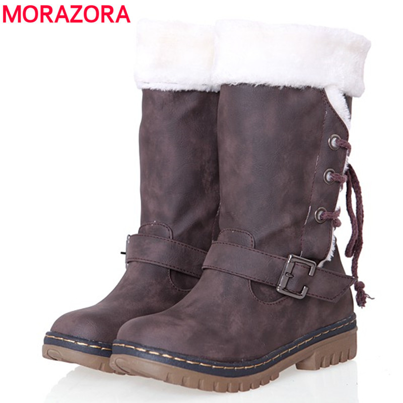 2017 new fashion lace up buckle round toe keep warm snow boots women pu leather thick fur winter boots flat mid calf shoes woman<br><br>Aliexpress
