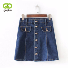 Buy GOPLUS Single Breasted Pockets Denim Skirt 2018 Summer Blue A-Line Mini Skirts Casual Bottom High Waist Solid Skirt C5728 for $17.74 in AliExpress store