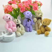Lovely Mini Soft Teddy Bear Stuffed Dolls Bow Tie Joint Bear Plush Toys Pendants DIY Party Wedding Flower Bouquet Doll 8cm 36pcs