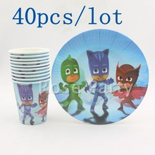 40pcs New Cartoon PJ Mask Party Set Tableware Paper Plate Cup For 20 Kids Birthday Party/Wedding Casamento Decoration Supplies