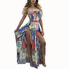 2017 Women Sexy Maxi Dress Slash Neck Strapless V Hollow Cut Out Backless Floral Print Party Fit And Flare Split Long Dresses