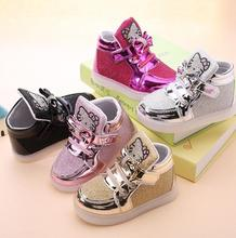 children lighted casual shoes high rhinestone hello kitty shoes for girls baby kids shoes fashion baby sneakers