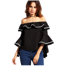 MAKE Hot Womens Slash Neck Butterfly Sleeve Club Tops Flouncing Ruffled Off Shoulder Casual Party Shirt Blouse(China)