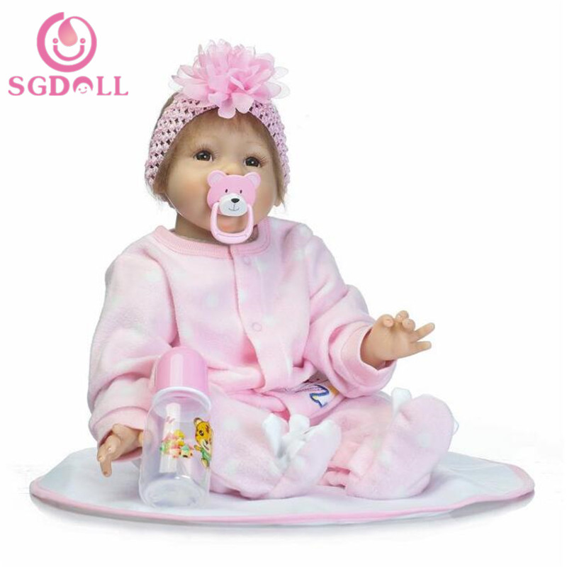 "[SGDOLL] 2017 New Reborn Toddler Dolls 22"" Handmade Lifelike Baby Solid Silicone Vinyl Girl Doll 17032446(China (Mainland))"