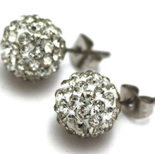 Lowest Price! 8mm Best white Crystal Micro Pave Disco Ball Silver Plated Shamballa Earrings Stud jewelry for womenwholesale
