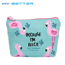2PCS New Cute Purses Cartoon Bird Flamingos Canvas Coin Purses Wallet High Performance Price Ratio Zipper Card Bag(China)