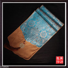 200*33cm Noble Chinese Handmade Vintage Yellow and Sky Blue Table Runner Cloth& Bed Flag With Jade Charm