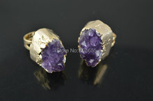 Gold plating color Natural Brazil Amethyst big size stone rings Fashion man's jewelry 5pc per lot