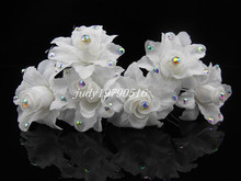Free shipping  50PCS   White Rose Silky Flower Crystal Bridal Wedding Prom Hair Clip Hair Pins H92