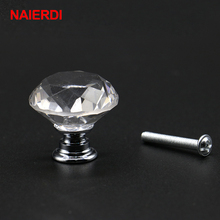 NAIERDI 20-40mm Diamond Shape Design Crystal Glass Knobs Cupboard Drawer Pull Kitchen Cabinet Door Wardrobe Handles Hardware